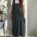Japanese Style Kitchen Brief Solid Color Cotton Dress Linen Pinafore Aprons