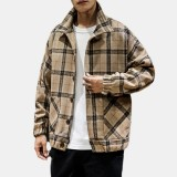 Mens Woolen Plaid Big Pockets Turn Down Collar Thicken Casual Jacket