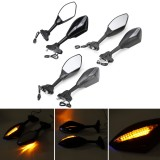 Motorcycle Blue LED Turn Signal Rear View Mirrors For Suzuki GSXR 600 750 1000 Hayabusa GSF Katana TL1000R Motorcycle