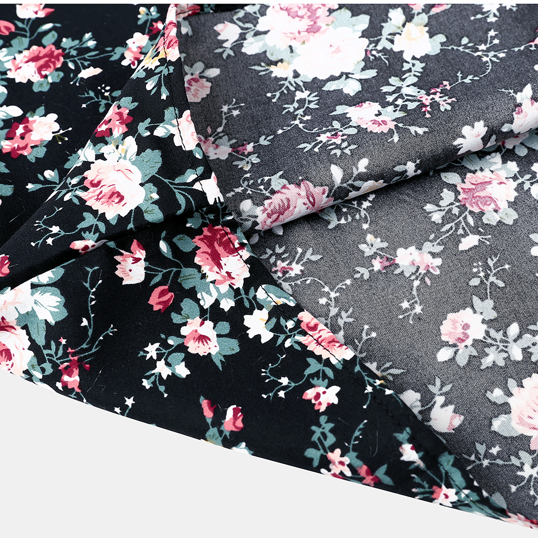 Mens Ethnic Style Printing Floral Short Sleeve Slim Fit Casual Shirts