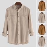 Men's Vintage Pocket Shirts Long Sleeve Button Down Autumn Beach Causal Top Tees