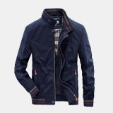 Mens Friction Resistance Breathable Cotton Stand Collar Casual Fashion Jacket