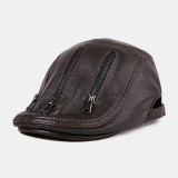 Men's Single Skin Thin Section Sheepskin Beret Hats Youth Leather Hats Middle-aged Beret Caps