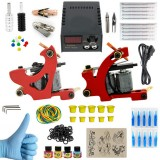 Tattoo Equipment Kit 2PCS Tattoo Machine Acessories Set Power Supply Needles Color Material
