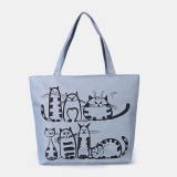 Women Large Capacity Handbag Cute Cat Pattern Bag Shoulder Bag