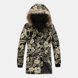 Mens Ethnic Printing Hooded Thickened Warm Mid Long Casual Coats