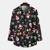 Fashion Multi Christmas Character Pattern Long Sleeve Casual Shirts
