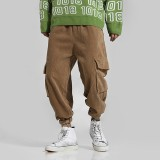 Mens Retro Corduroy Multi Pockets Thick Loose Fit Solid Color Casual Pants