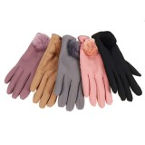 Touch Screen Warm Gloves Elegant Winter Combed Full Finger Cotton Soft Skiing Gloves