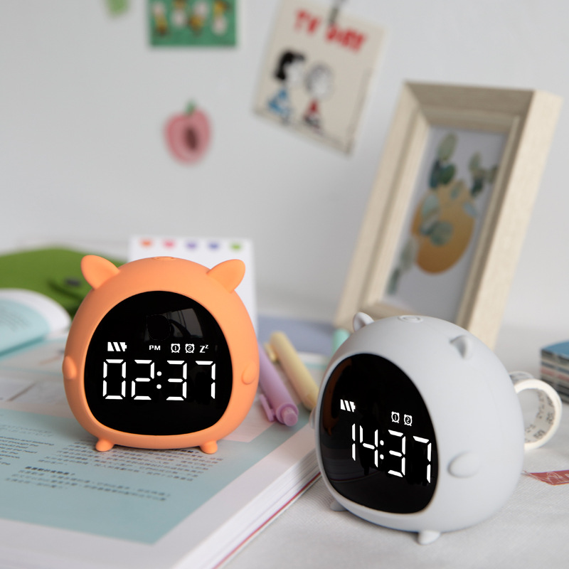 Little Elf Alarm Clock Digital LED Table Alarm Clock Snooze Countdown Rechargeable Cartoon Clock