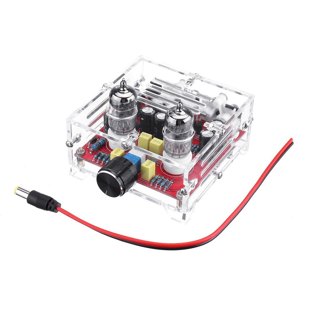XH-A201 HiFi 6J1 Tube Preamplifier Board Class A Amplifier Audio Finished Board Pre-amp with Crystal Shell