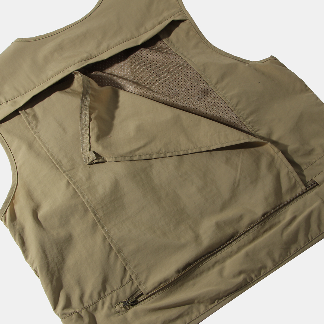 Mens Outdoor Multi Pockets Zipper Single Breasted Casual Thick Vest