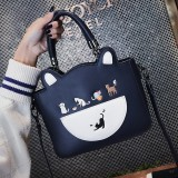 Women Fashion Casual Cat Pattern Cute Crossbody Bag Shoulder Bag Handbag