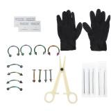 20PCS Body Piercing Tool Kit Portable Ear Nose Navel Nipple Needle Nose Ring Set