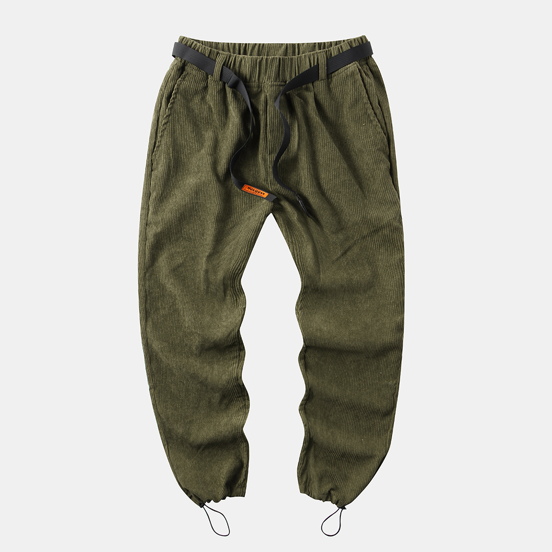 Mens Corduroy Solid Color Thick Loose Fit Elastic Waist Straight Pants