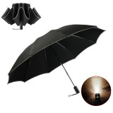 ZUODU 2-3 People Folding Umbrella Reflective LED Light Automatic Umbrella Portable Windproof Sunshade With Leather Cover
