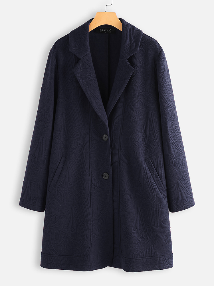 Jacquard Solid Color Lapel Long Sleeve Jacket Coats For Women