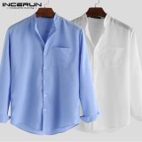 Men's Long Sleeve Shirts Collarless Blouse Top Casual Loose Button Down Shirt Top