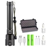 XANES XHP90.2 Zoomable Flashlight USB Charging 3 Modes IPX6 LED Light With 18650 Battery Charger USB Cable Battery Tube