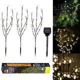3PCS Solar Powered Warm White Colorful White LED Branch Leaf Tree Light Outdoor Garden Path Patio Border