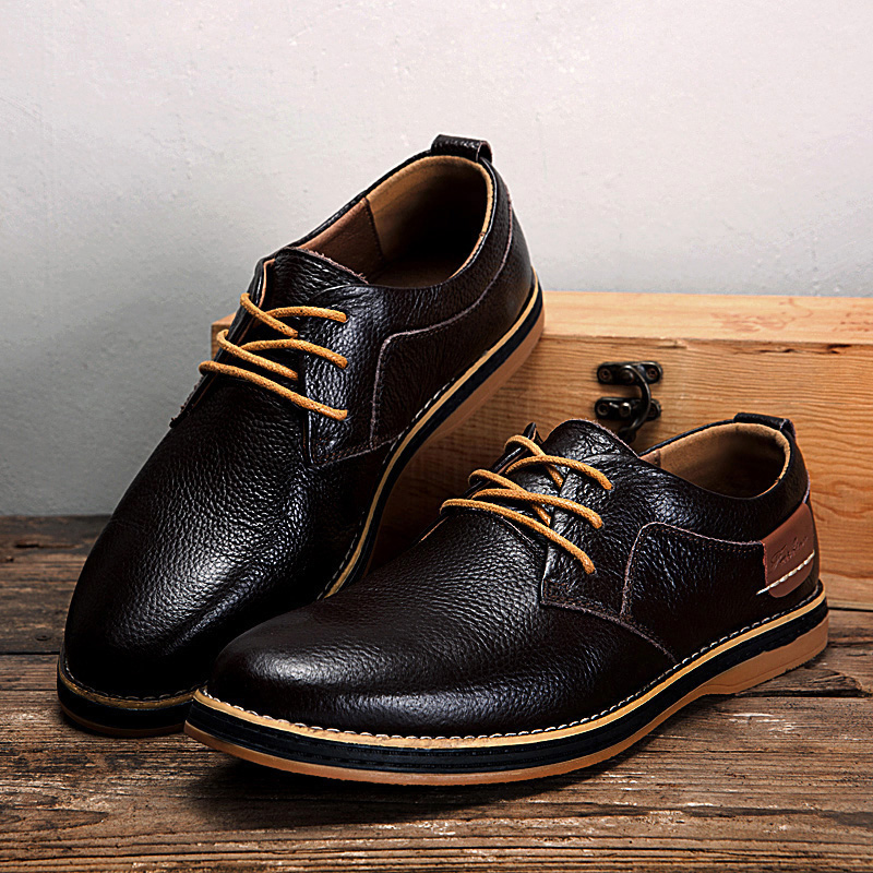 Men Genuine Leather British Style Comfy Lace Up Business Oxfords Casual Shoes