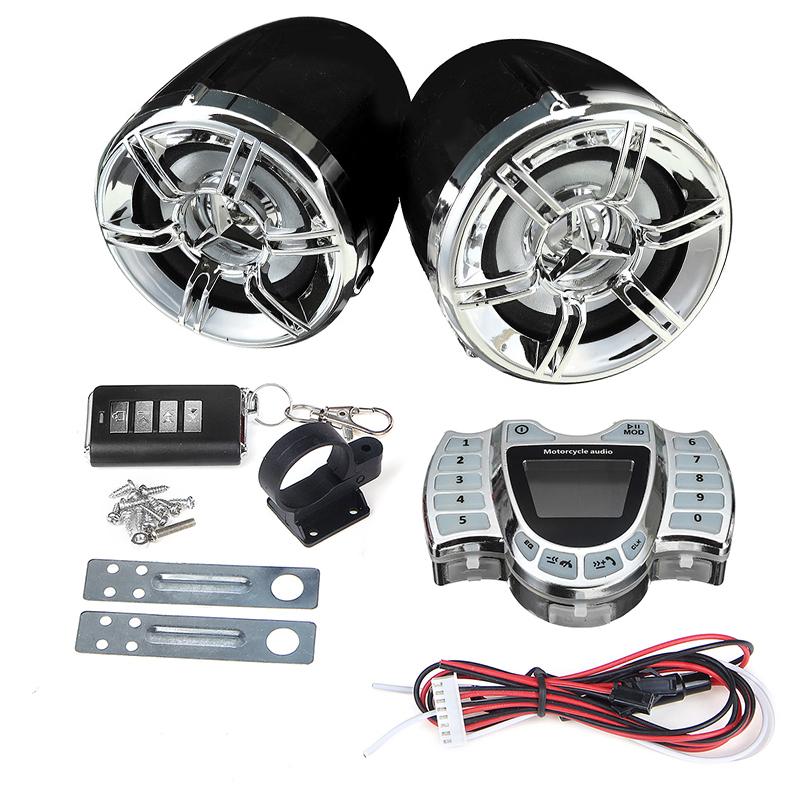 Waterproof Motorcycle LED bluetooth Handlebar Audio System LCD Clock Display FM Radio Stereo Amplifier Speaker