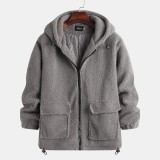 Mens Fleece Double Pockets Zipper Hooded Solid Color Casual Coats