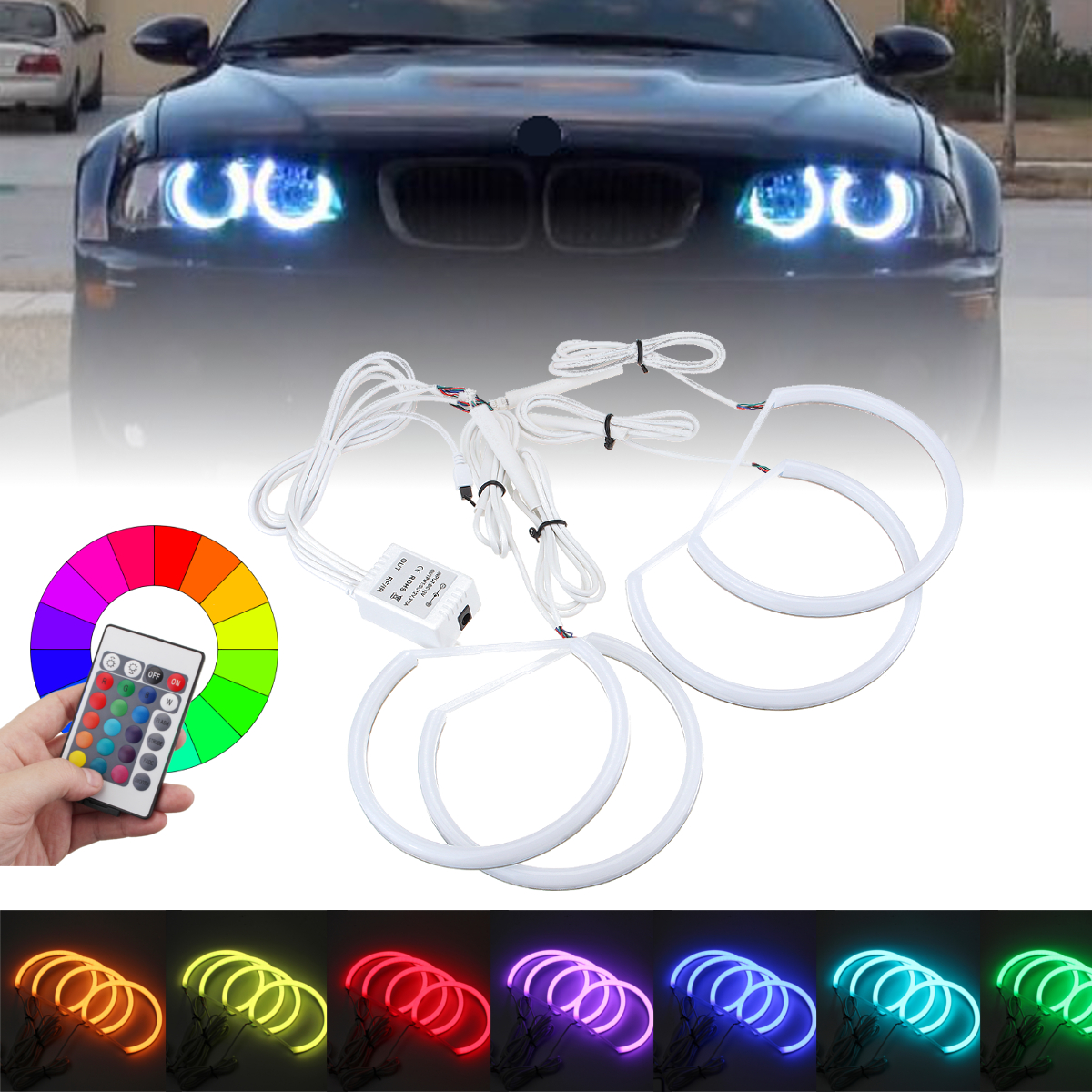 4pcs 131mm 146mm Multi Color Rgb Led Angel Eyes Halo Ring Lights Headlights With Remote Control For Bmw E46 E90 Alexnld Com