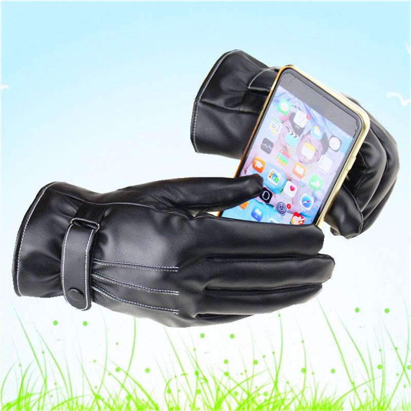 Mens Heated Leather Gloves Warm Waterproof Touchscreen Mitten Winter Finger Gloves