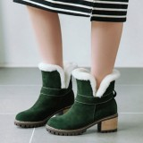 Women Plus Size Suede Plush Lining Warm Round Toe Winter Ankle Snow Boots