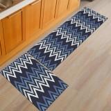 2Pcs Kitchen Floor Carpet Non-Slip Area Rug Bathroom Floor Mat Set
