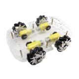 4WD 65mm Metal Omnidirectional Wheel Double Acrylic Layer Chassis Car Kit for DIY Smart Robot