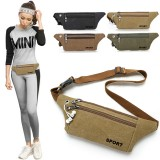 Unisex Canvas Waist Bag Waist Belt Bag Fanny Pack Hip Pouch Travel Sports Phone Pocket