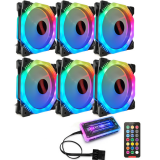 Coolmoon 6PCS 120mm Multilayer Backlit RGB Cooling Fan Computer Case PC CPU Cooling Fan with the Remote Control