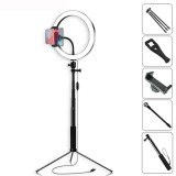 Yingnuost Selfie Stick 5500K Dimmable Video Light 26cm LED Ring Lamp with Phone Holder bluetooth Shutter Wrench for Youtube Tik Tok Live Streaming