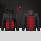 USB Electric Heated Coats Heating Hooded Jacket Long Sleeves Winter Warm Clothing