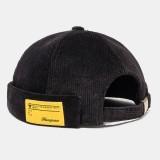 Mens Black Corduroy Adjustable Solid French Brimless Hats Vogue Retro Skullcap Sailor Cap