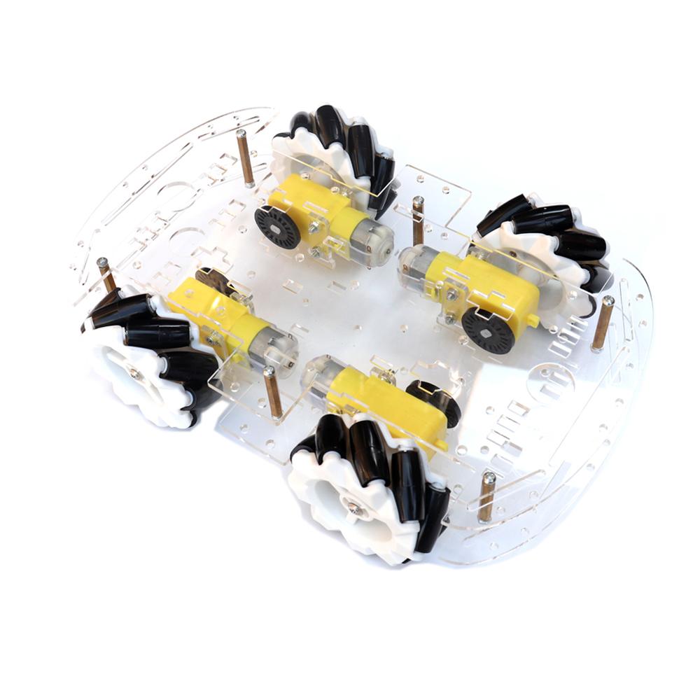 4WD Double Acrylic Layer 65mm Omnidirectional Wheel McNamee Wheel Chassis Car Kit for DIY Smart Robot