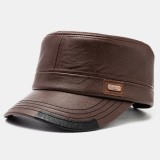 Men's Leather Flat Hats With Color Matching Hat Warm Hats