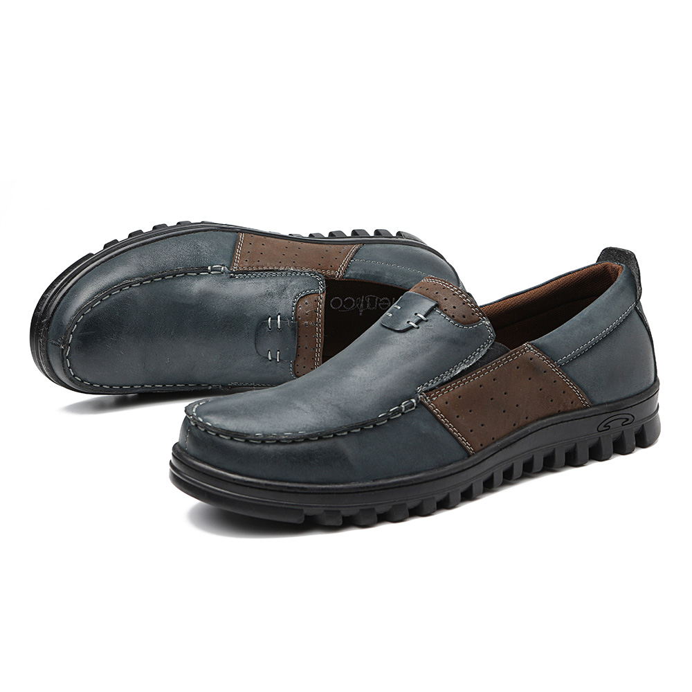 Menico Men Comfy Moccasin Toe Splicing Soft Casual Leather Oxfords