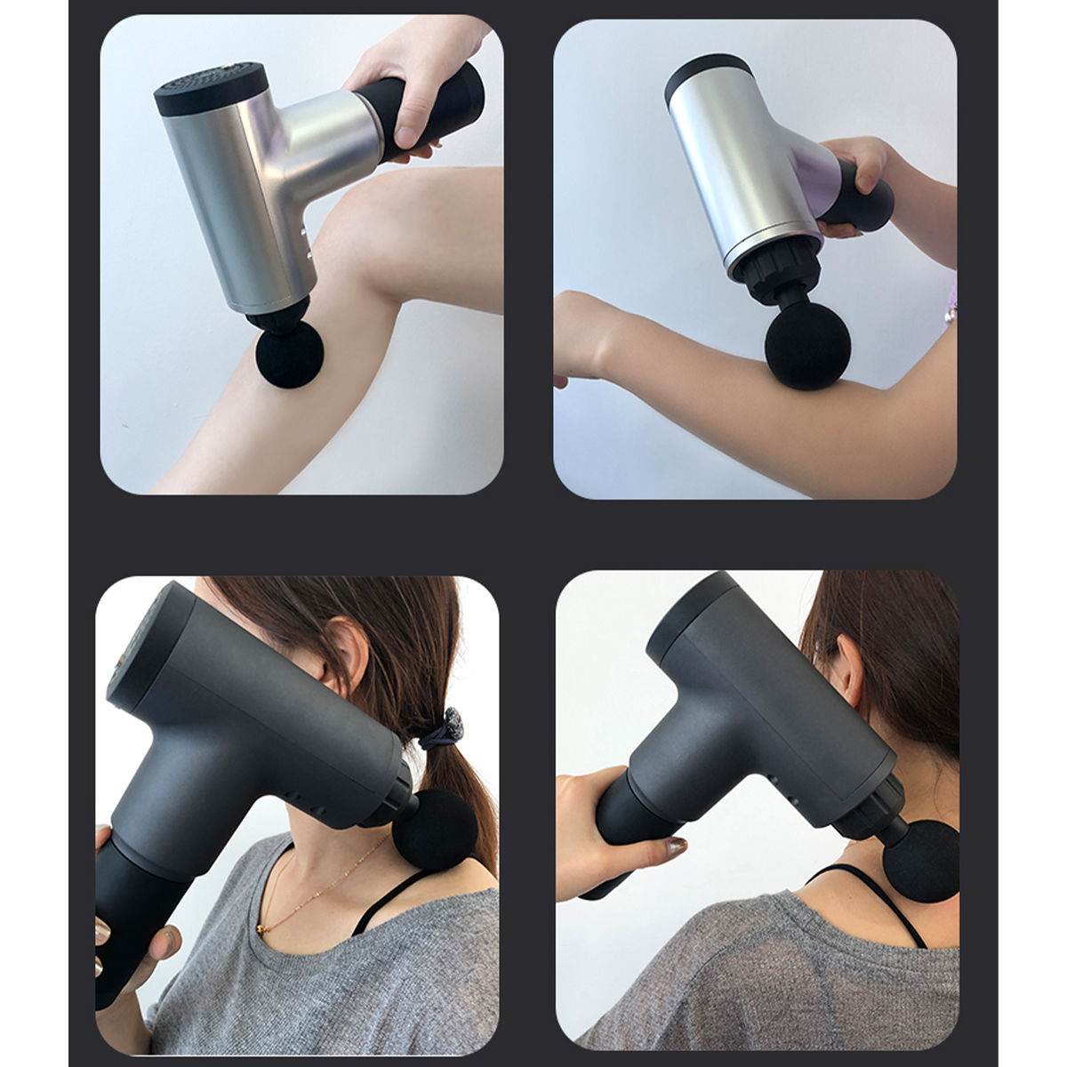Electric Percussion Massager 4 Levels Ultra-Quiet Muscle Deep Tissue Vibrating Relaxing Therapy Device with 4 Massager Heads