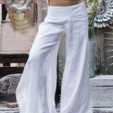 Wide Leg Women Casual Loose Solid Color Elastic Waist Trousers Pants
