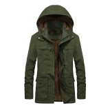Mens Fashion 100% Cotton Double Big Pockets Hooded Mid Long Casual Coats