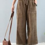Plus Size Women Vintage Corduroy Trousers Muti-pockets Elastic Waist Wide Leg Pants