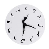 Yoga Postures Wall Clock GYM Fitness Flexible Girl Silent Modern Clock Watch Home Decor Meditation Decor Yoga Studio Relax Gift
