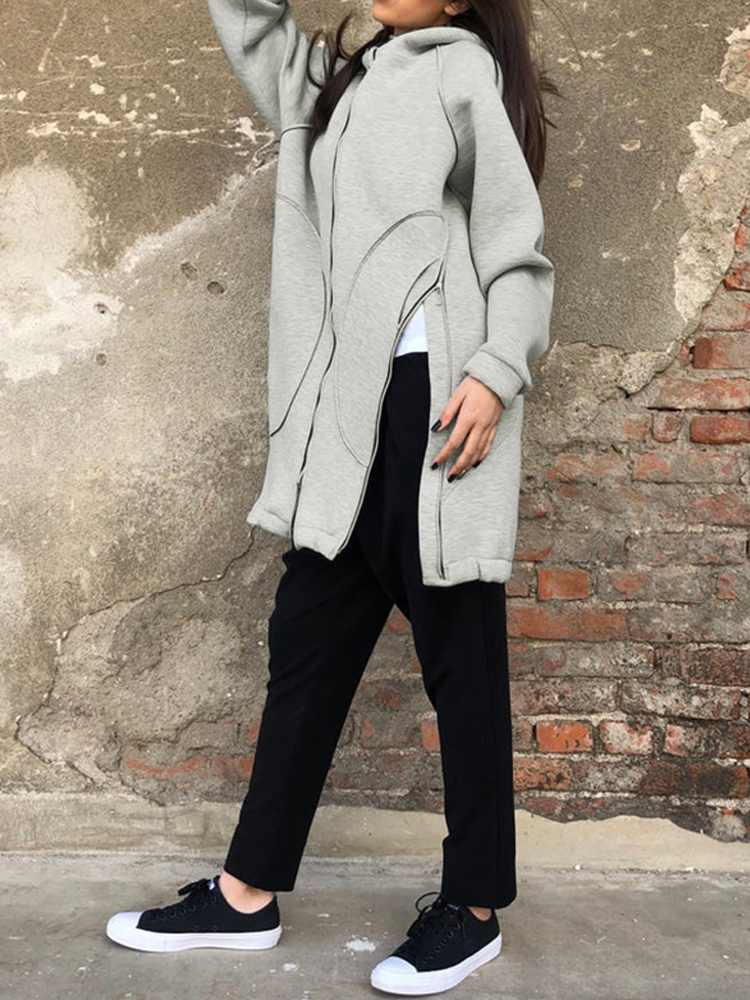 Solid Color Zipper Side Split Long Sleeve Coats with Pocket