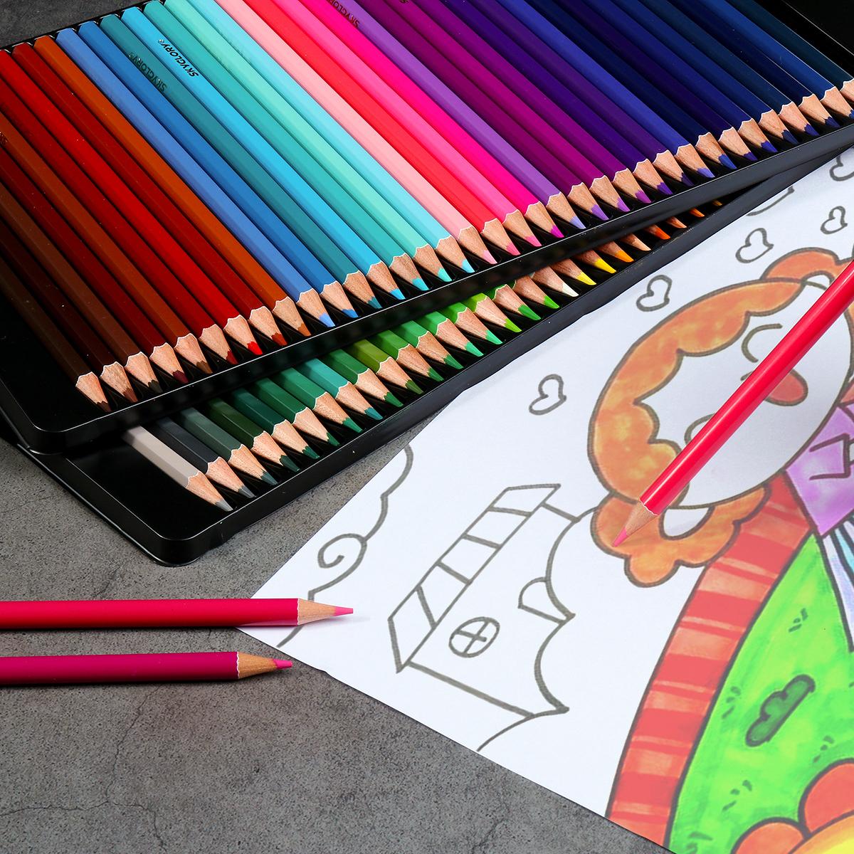 DELI 24//36//48//72 Color Nontoxic Color Pencils Oily Painting Art Drawing Pencil