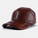 Mens Winter Warm Adjustable Genuine Leather Flat Hats Windproof Outdoor Top Layer Leather Trucker Cap Baseball Cap