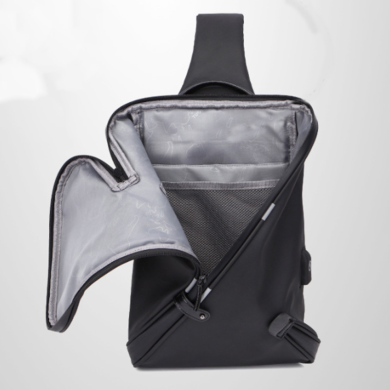 USB Anti Theft Crossbody Bag Men Chest Bag Waterproof Detachable Shoulder Bag for Camping Travel