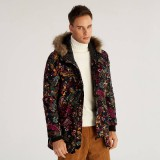 Mens Casual Winter Collar Cotton Printing Thickened Warm Fashion Mid Long Coats